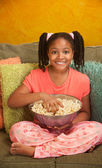 Little Kid Eats Popcorn — Stock Photo