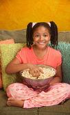 Little Kid Eats Popcorn — Stock Photo