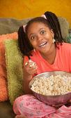 Overjoyed Little Girl With Popcorn — Stock Photo