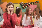 Shocked Little Girl at Sleepover — Stock Photo