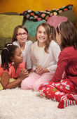 Four Girls at a Sleepover — Stock Photo