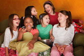 Group Of Little Girls Watch Television — Stock Photo