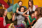 Sleepover Pillow Fight — Stock Photo