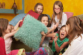 Little Girls Pillowfighting — Stock Photo