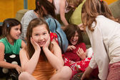 Smiling Little Girl At Sleepover — Stock Photo