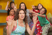 Misbehaving Little Girls With Nanny — Stock Photo