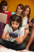 Little Girl Engrossed In Gaming — Stock Photo