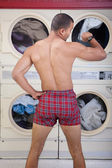 Partially Dressed In the Laundromat — Stock Photo