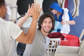 Laundromat Friends — Stock Photo