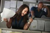 Employee Yells On Phone — 图库照片
