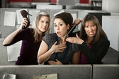 Three Women Quarreling In Office — Stock Photo