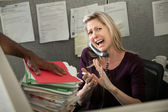 Office Worker Yelling On Phone — 图库照片