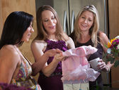 Expectant Mom With Baby Shower Gifts — Stock Photo