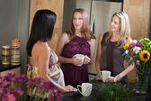 Två gravida kvinnor med vän — Stockfoto