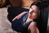 Expectant Mom Relaxing On Bed — Photo