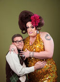 Nerd Hugs a Drag Queen — Stock Photo