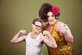 Man With Large Drag Queen — Stock Photo