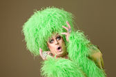 Surprised Drag Queen in Green — Stock Photo