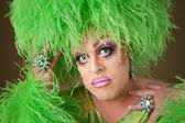 Serious Drag Queen in Green — Stock Photo