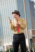 Upset Businessman With Cellphone — Stock Photo