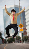 Businessman Jumps In The Air — Zdjęcie stockowe