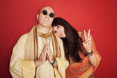 Pious Guru With Woman — Stock Photo