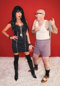Annoyed Dominatrix and Client — Stock Photo