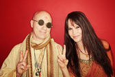 Hippies With Peace Sign — Stok fotoğraf