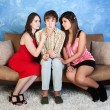 Stock Photo: Nervous Teen with Girls