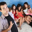 Arrogant Young Man With Girlfriends — Stock Photo #40887191
