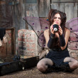 Unhappy Fairy With Eight Ball — Stock Photo