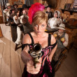 Dangerous Showgirl in Old Saloon — Stock Photo