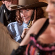 Smiling Cowgirl with Pistol — Stock Photo