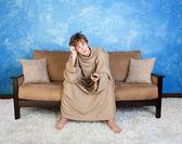Bored Teen In Bathrobe — Stock Photo