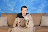 Spaced-Out TV Watcher — Stock Photo