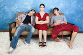Annoyed Woman and Two Men — Stock Photo