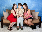 Nervous Teen with Girls — 图库照片