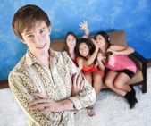 Handsome Young Man with Girlfriends — Stock Photo