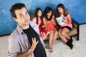 Arrogant Young Man With Girlfriends — Stock Photo