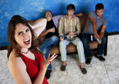 Annoyed Woman with Loud Men — Stock Photo