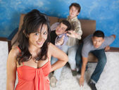 Attractive Girl with Boyfriends — Stock Photo