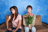 Innocent Man With Flower Bouquet — Stock Photo