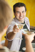 Two Men Toast With Martinis — Stock Photo