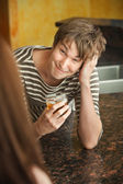 Young Man with Beverage — Stock Photo