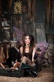 Sad Fairy In Suitcase — Stock Photo