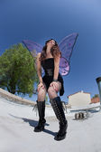 Exhausted Fairy on Rooftop — ストック写真