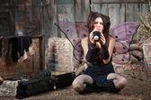 Unhappy Fairy With Eight Ball — Stock Photo