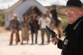 Outgunned Sheriff at Showdown — Stock Photo
