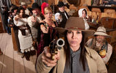 Dangerous People in Bar Point Their Guns — Stock Photo