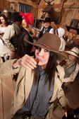 Woman in Cowboy Hat Drinks Whiskey — Stock Photo